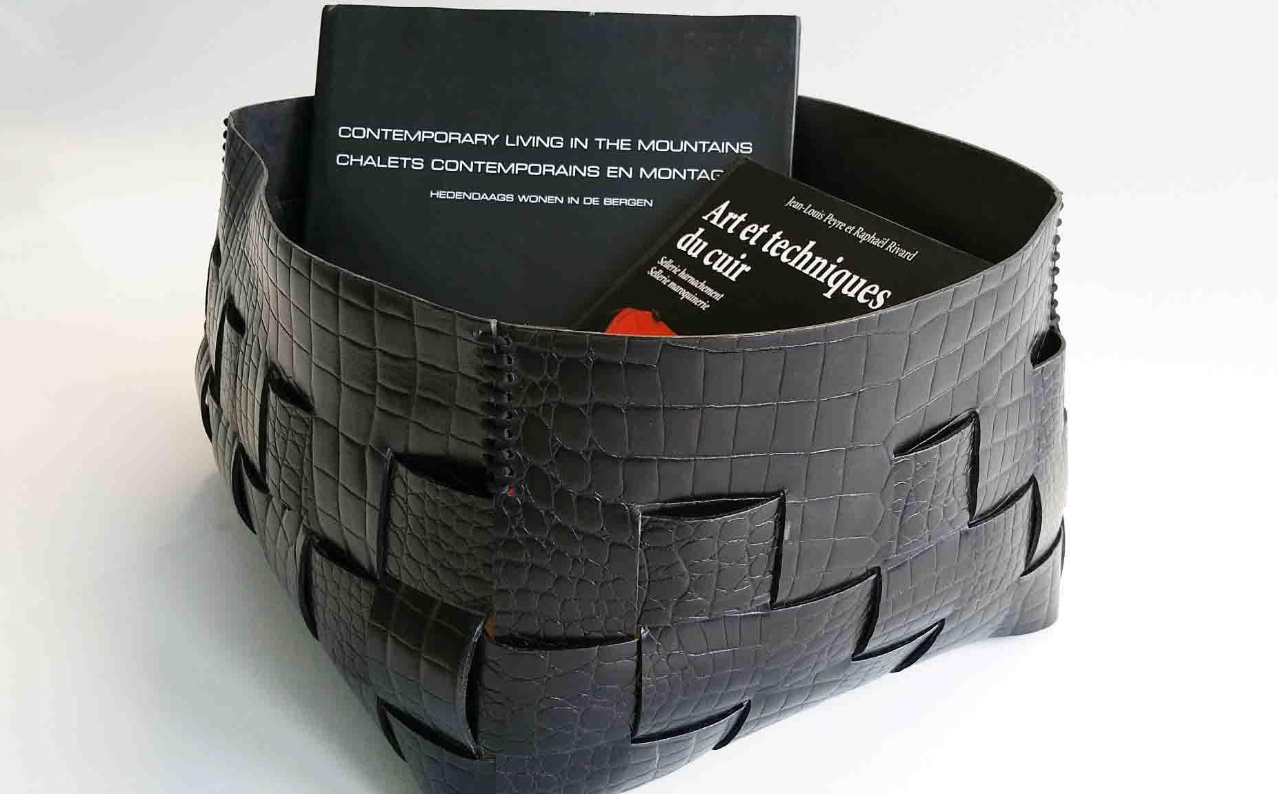 Crocodile Embossed Woven Leather Basket
