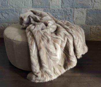 Herringbone Mink Fur Blanket in Sapphire Silver Grey