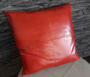 Red Panelled Lamb Leather Cushion