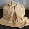 Herringbone Mink Fur Blanket in Pale Apricot