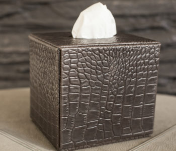 Square Leather Tissue Box
