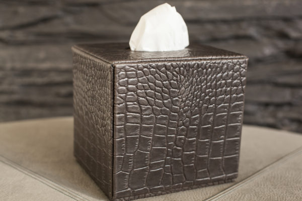 Square Leather Tissue Box