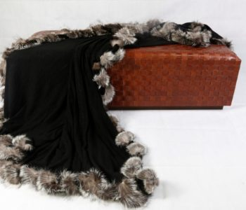 Knitted Cashmere Blanket with Woven Fox Border
