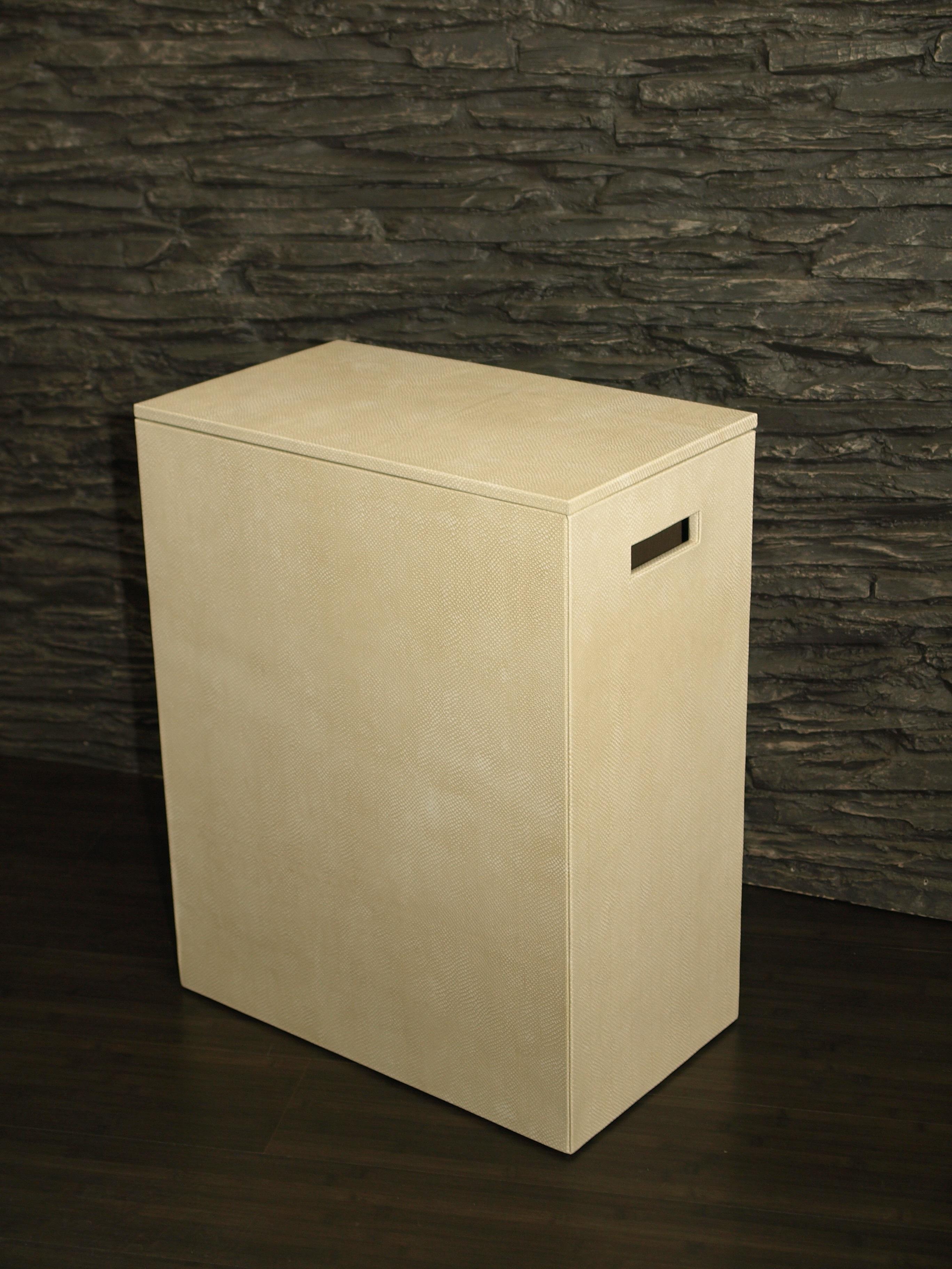 Rectangular Leather Laundry Basket
