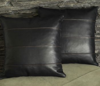 Ribbed Leather Cushion with Fur Trim