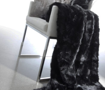 Patchwork Mink Fur throw in Jet Black