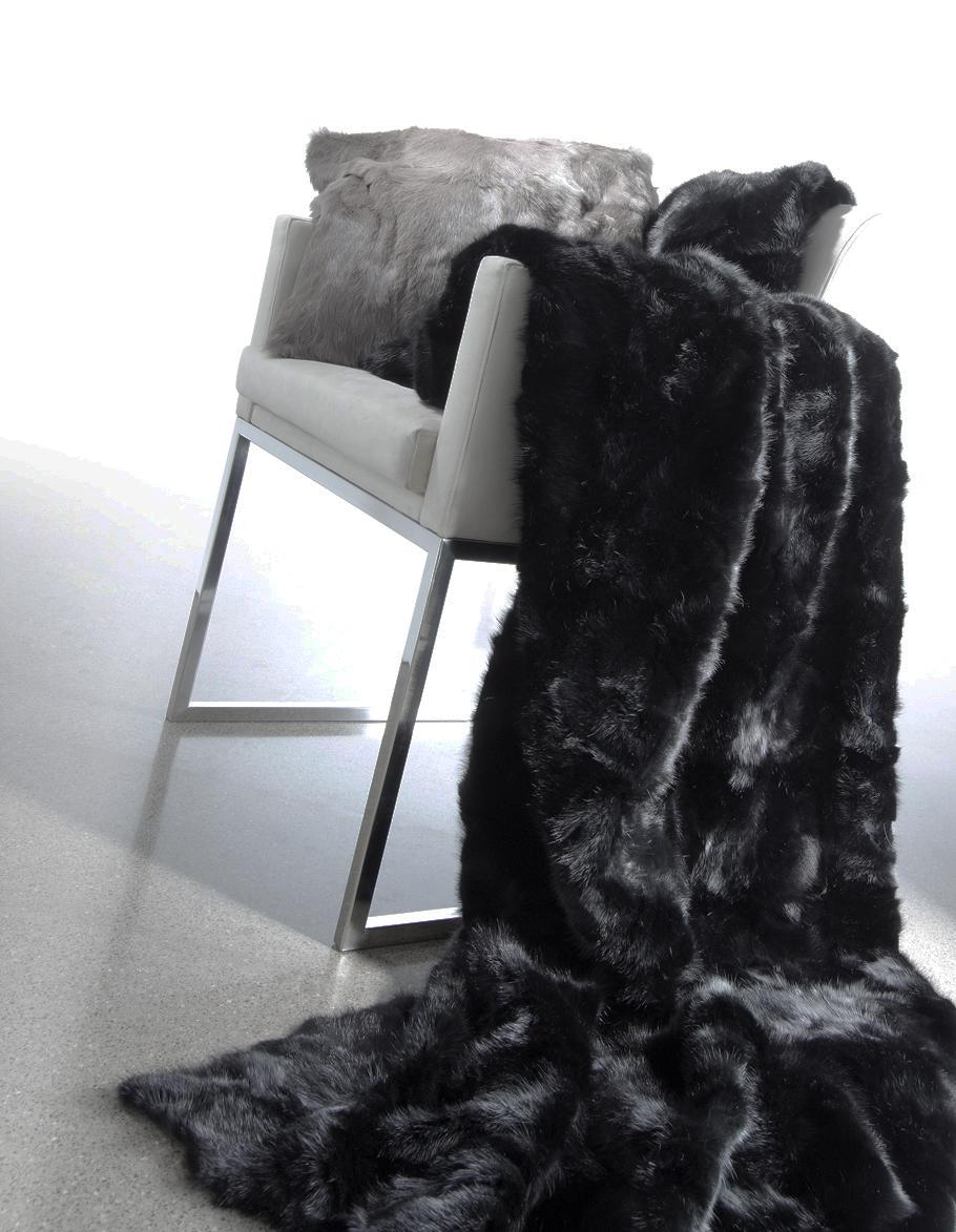 Patchwork Mink Fur throw in Jet Black