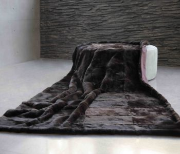 Chocolate Brown Imperial Chinchilla Rex Fur Blanket