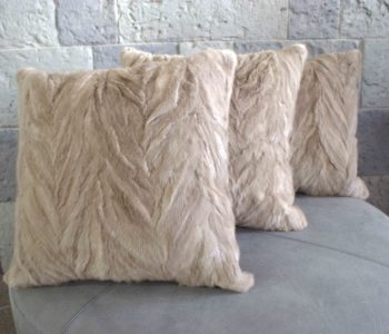Mink Fur Herringbone Carved Mink Cushion