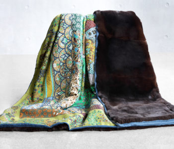 Hermes Shawl lined with Textured Fur