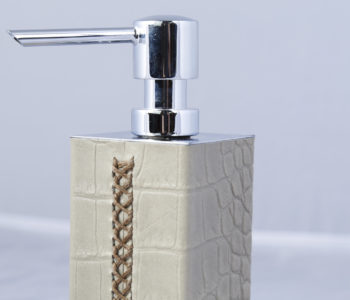 Circular Leather Soap Dispenser