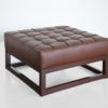 Meribel Buttoned and piped leather ottoman