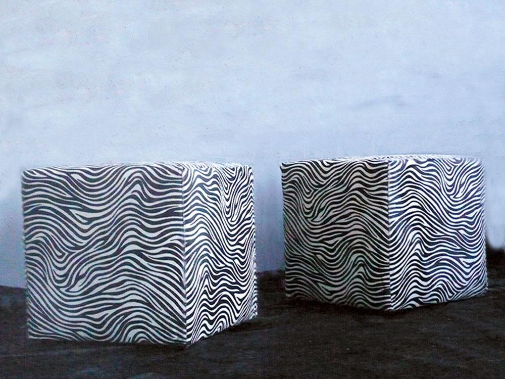 Zebra Print Cavallino Cube Pouf