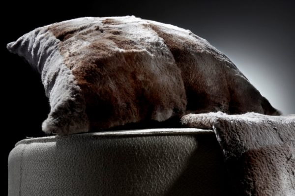 Pardo Grey Shorn Rabbit fur cushion