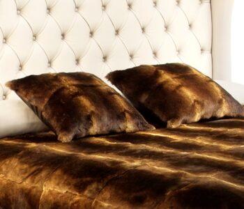 rabbit fur cushion Egyptian Bronze