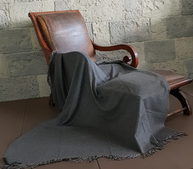 Charcoal grey Sable cashmere large throw blanket