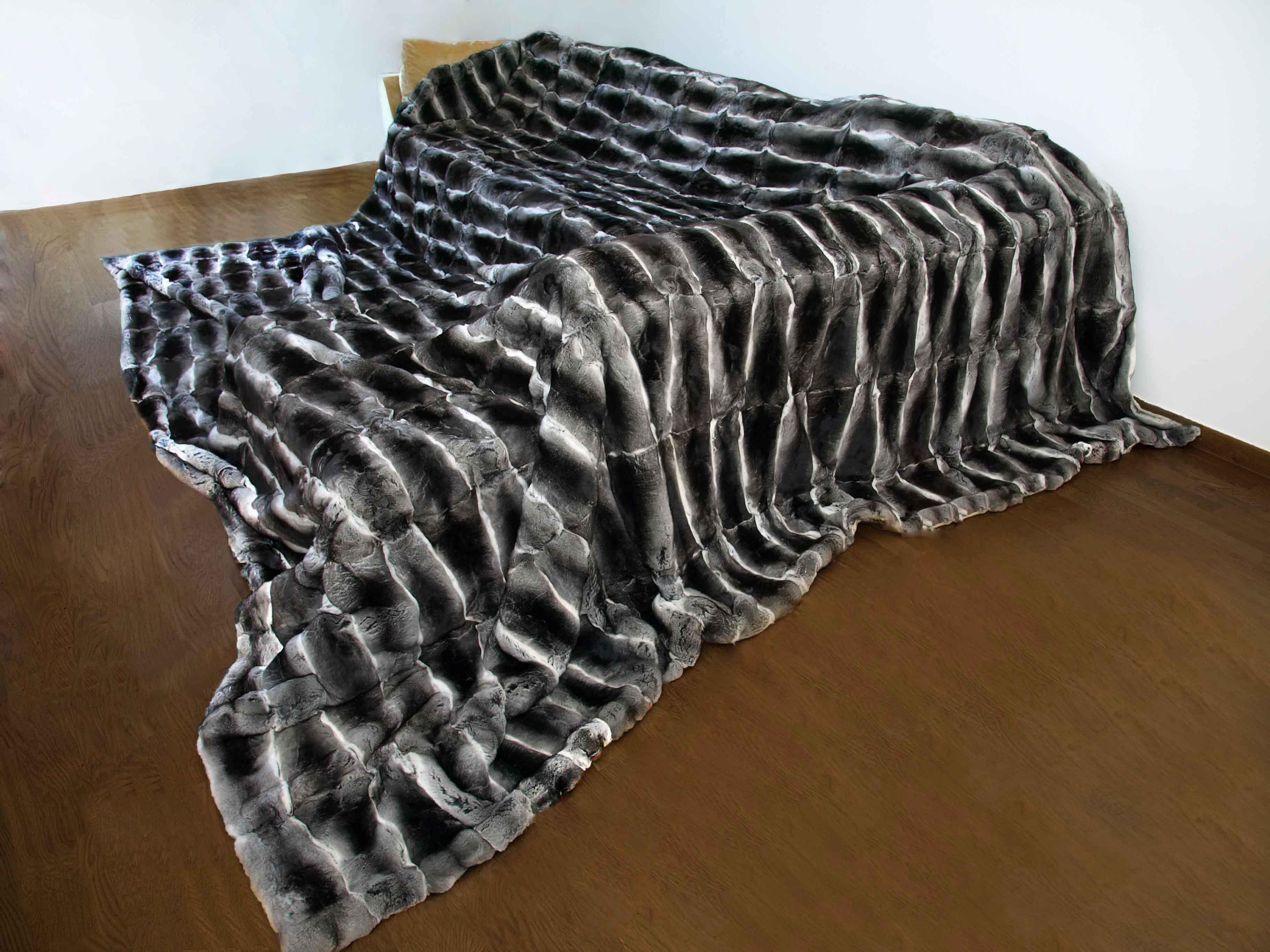 Extra Large stunningly Luxurious Chinchilla fur blanket