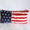 Rabbit fur usa flag pillow