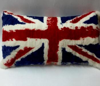 Rabbit fur uk flag pillow