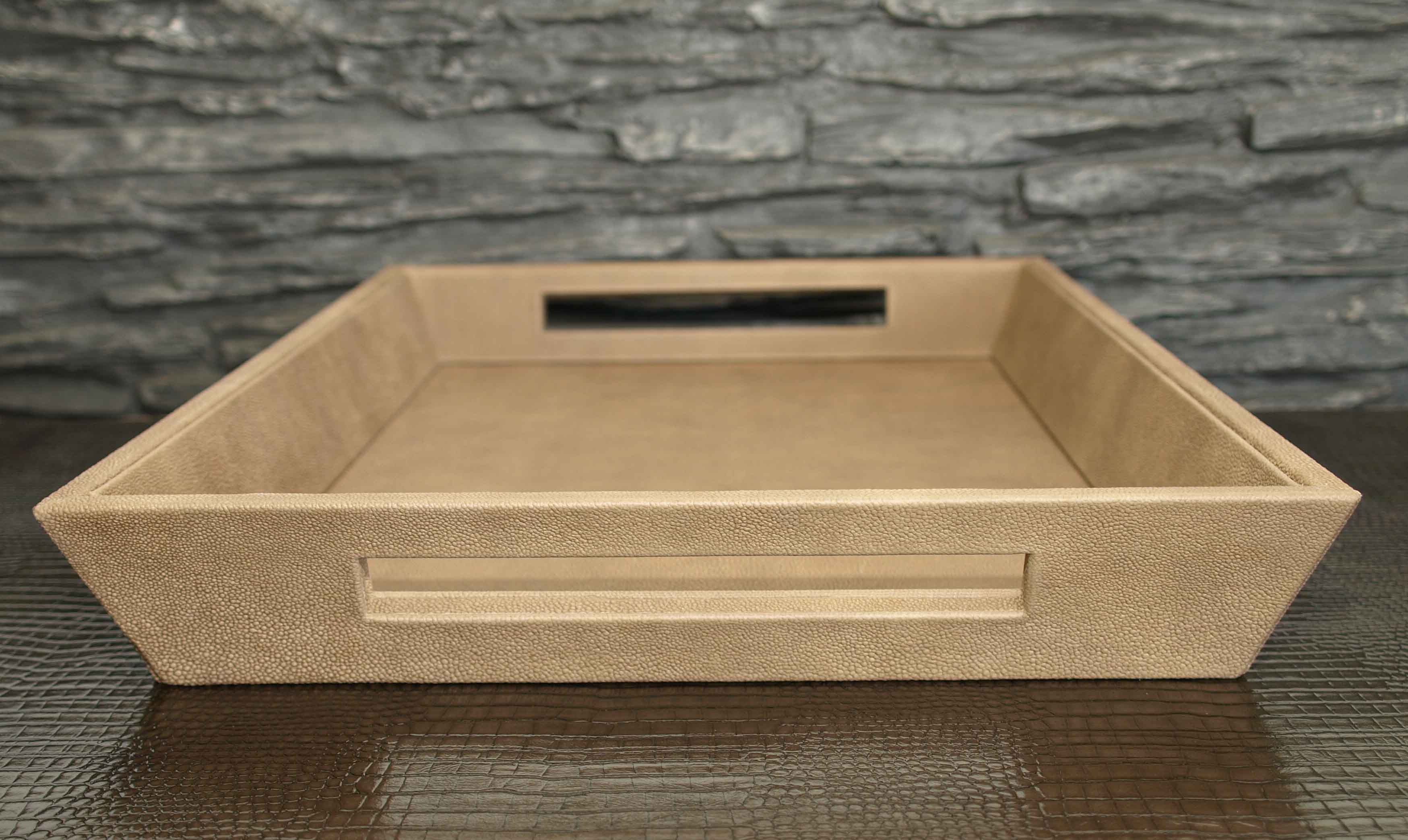Tapered Leather Serving Tray